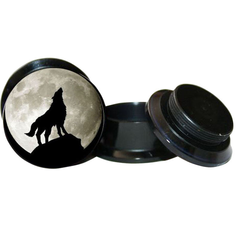 Wolf Logo ear Plug Black Acrylic Screw Fit-Sunshine's Boutique & Gifts