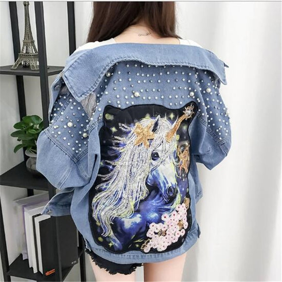 New Beaded Sequins Denim Jacket