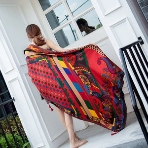 New Ethnic Large Silk Scarf-Sunshine's Boutique & Gifts