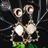 New Fashion Drop Shape Triangle Pearl Ear Gauges