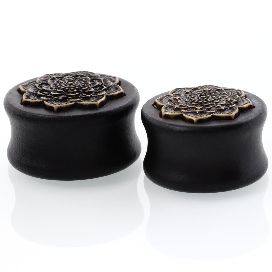 New Style 2PCS Black Natural Wood Mandala Flower Ear Plugs-Sunshine's Boutique & Gifts