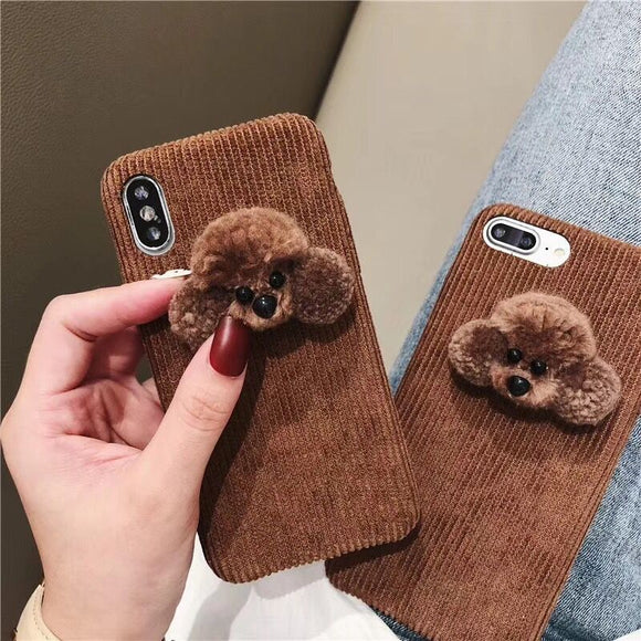 Fluffy Plush Brown Dog Cell Phone Cases For iPhone 6 6S 7 8 Plus X XS XR Xs Max-Sunshine's Boutique & Gifts