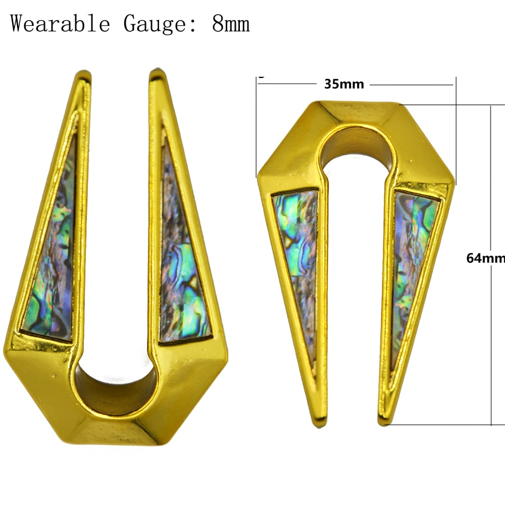 Key Hole Shape Gold Shell Ear Weight-Sunshine's Boutique & Gifts