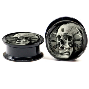 PAIR of Skull Women Ear Plugs Acrylic Screw Fit-Sunshine's Boutique & Gifts