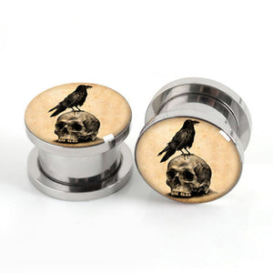Vintage Skull Birds stainless steel screw fit ear plugs-Sunshine's Boutique & Gifts