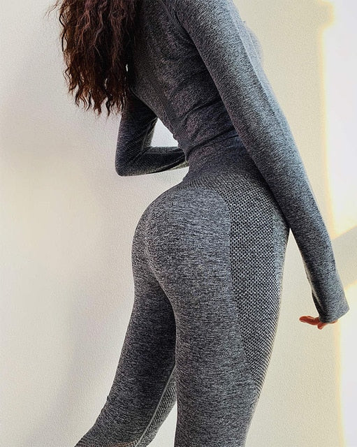 Seamless Leggings+Cropped Workout Set-Sunshine's Boutique & Gifts