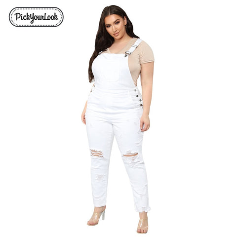 Women Denim Ripped White Jumpsuit
