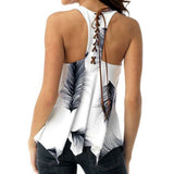 Summer Feather Print Back Lace Up Top