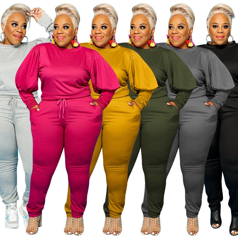 Two Piece Plus Size Outfit Tracksuit
