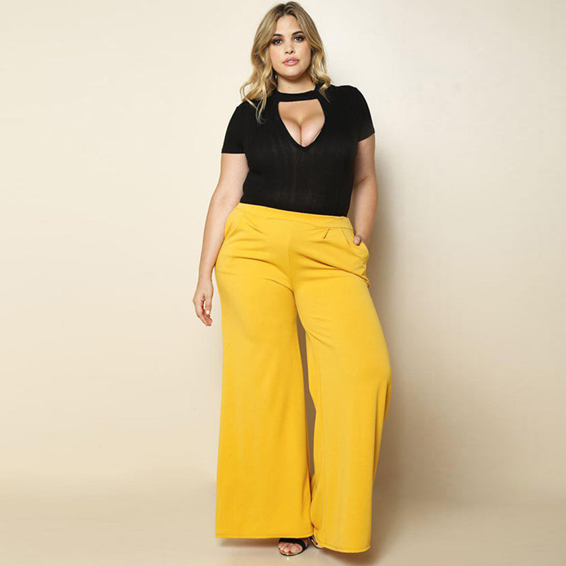 Plus Size Sexy High Waist Wide Leg Pants-Sunshine's Boutique & Gifts