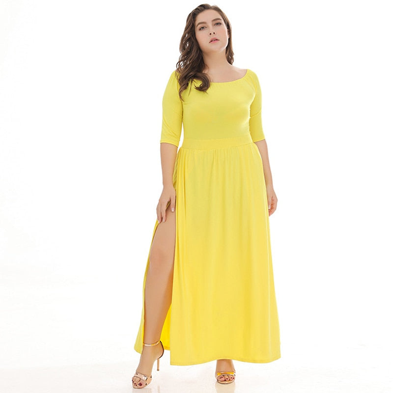 Plus Size Split Maxi Dress-Sunshine's Boutique & Gifts