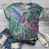 Short Sleeve 3D Hummingbird Print T-Shirt