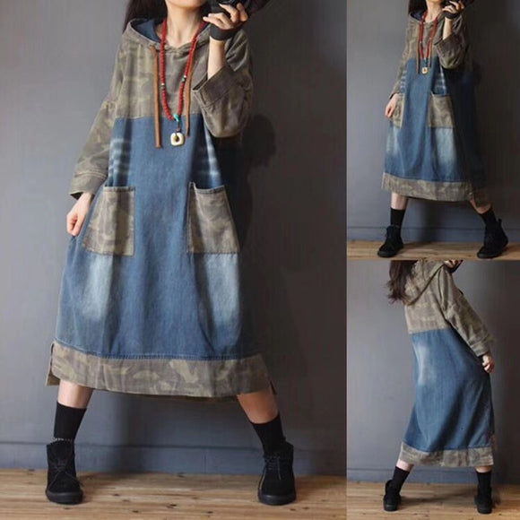 Hooded denim dress
