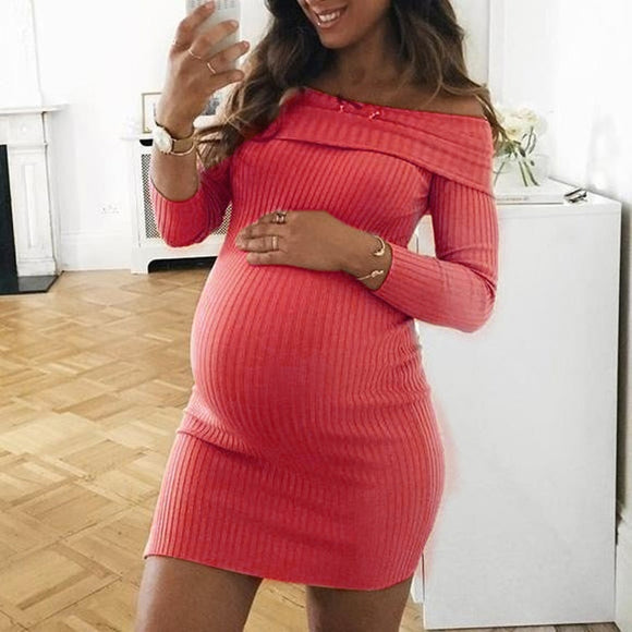 Pregnant Bodycon Slim Off Shoulder Dress-Sunshine's Boutique & Gifts