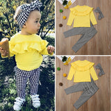 Girls Ruffle Plaid Headband Tops+Pants