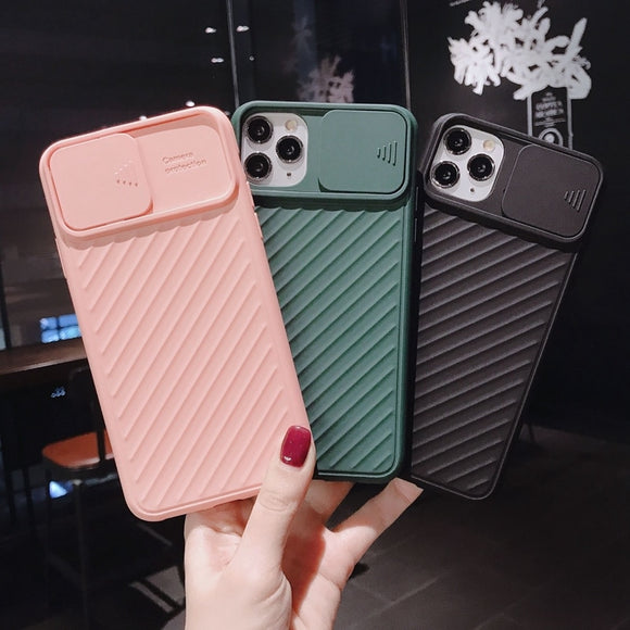 Push pull Soft Camera Protection Silicone Phone Case For iPhone