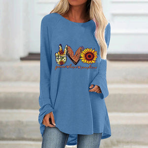 Print O Neck Long Sleeve Casual Loose Tops