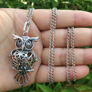 Retro Owl Necklace Sliver Hollow Necklace Sponge Aromatherapy Diffuser-Sunshine's Boutique & Gifts