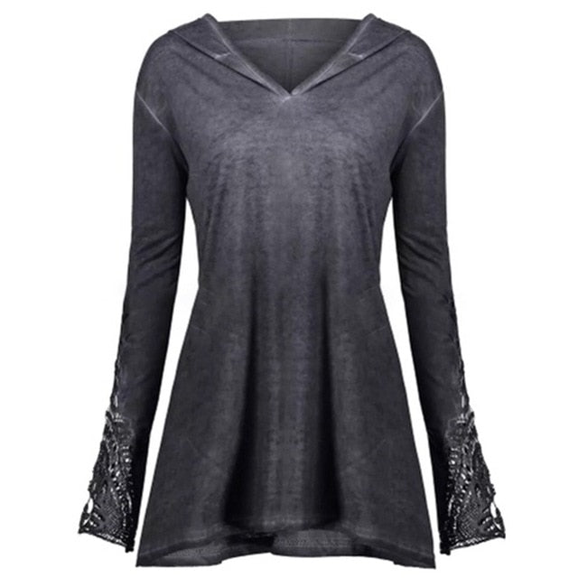 Gothic Elegant Plus Size Hooded Tops-Sunshine's Boutique & Gifts