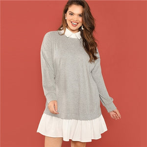 Plus Size Grey Elegant Dress Ruffle Hem-Sunshine's Boutique & Gifts