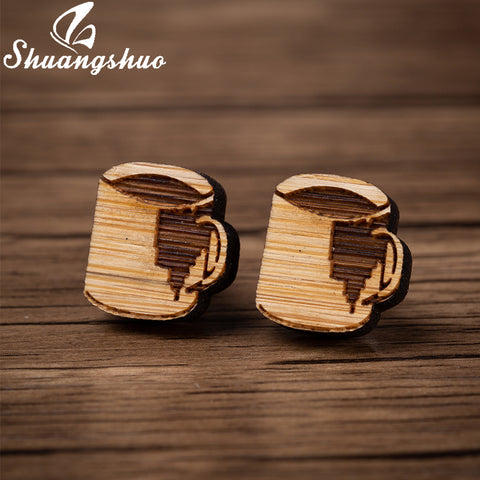Laser Engraved Coffee Cup Stud Earrings-Sunshine's Boutique & Gifts