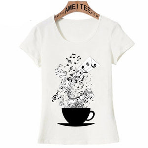 Simple Style Cup of Music Black Print T-Shirt-Sunshine's Boutique & Gifts