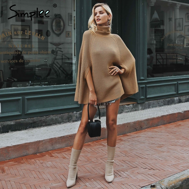 Knitted turtleneck cloak sweater-Sunshine's Boutique & Gifts