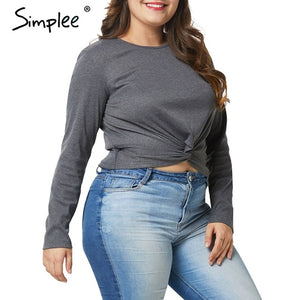 Plus size Solid long sleeve knitted crop tops-Sunshine's Boutique & Gifts