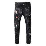 Men black bird embroidered painted ripped jeans