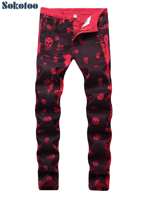 Men skull printed red denim jeans
