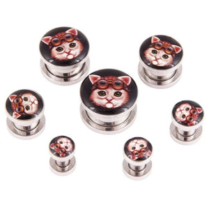Stainless Steel Cat Ear Gauges-Sunshine's Boutique & Gifts