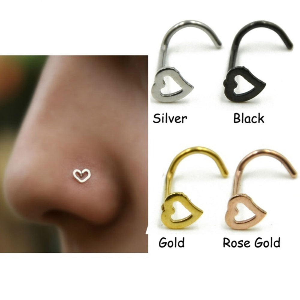 Stainless steel love heart multi color nose Rings-Sunshine's Boutique & Gifts