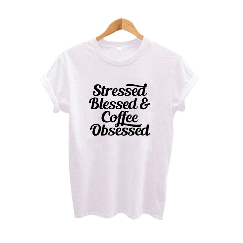 Stressed Blessed & Coffee Obsessed T-shirt-Sunshine's Boutique & Gifts