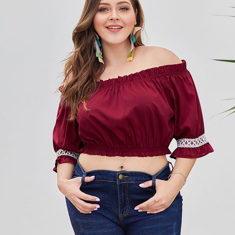 Plus Size Lace Patchwork Tops-Sunshine's Boutique & Gifts