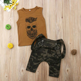 Boys Casual Camo Overalls Set
