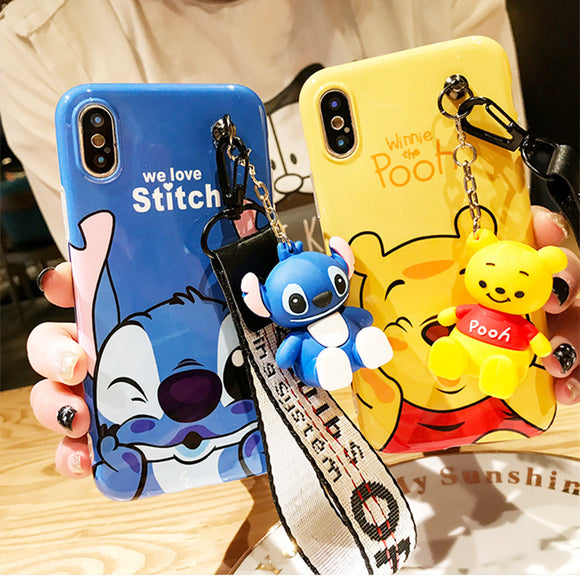 Super cute Stitch mini Pooh dinosaur lanyard+tand silicone iPhone cases-Sunshine's Boutique & Gifts