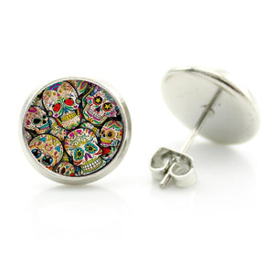 Sugar Skull glass cabochon women stud earrings-Sunshine's Boutique & Gifts