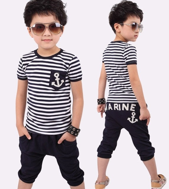 Boys Navy Stripe Set-Sunshine's Boutique & Gifts
