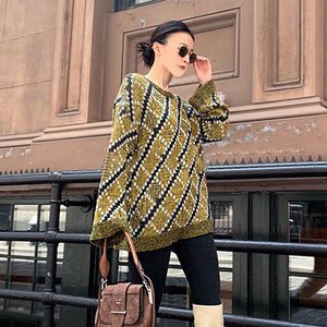 Knitted Plaid O Neck Long Sleeve Pullover