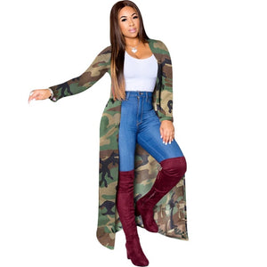 Casual Camouflage Trench Cardigan