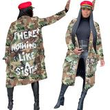 Women Plus Size Camouflage Trench Coat