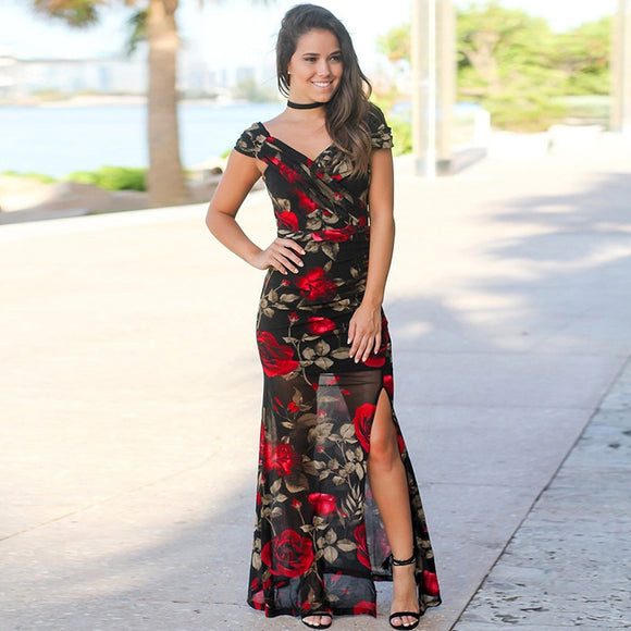 Casual Sexy V-neck Backless Floral Print Maxi Dress-Sunshine's Boutique & Gifts