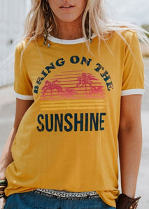 Bring On The Sunshine Letter Print Short Sleeve T-Shirt-Sunshine's Boutique & Gifts