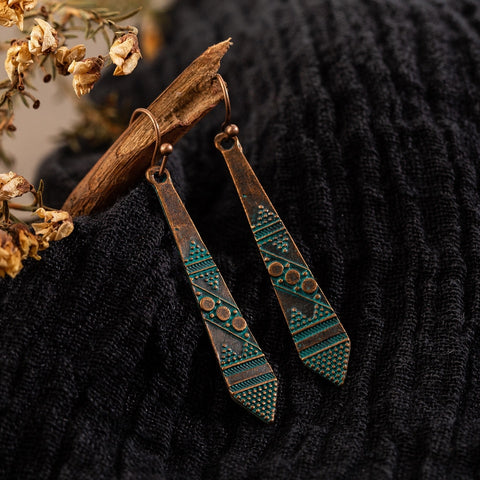 India Antique Dangle Drop Earrings