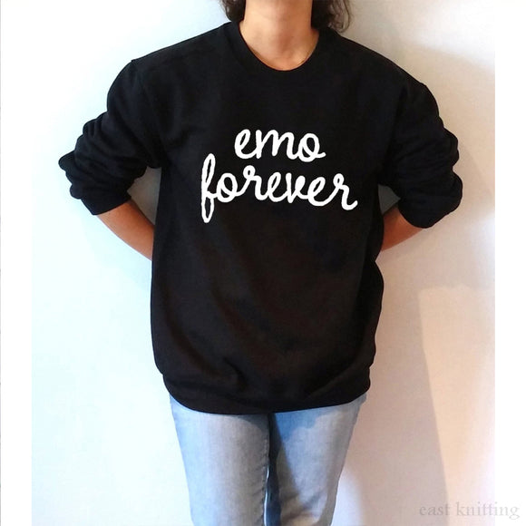 Women Casual Round Emo Forever Black Sweatshirt-Sunshine's Boutique & Gifts