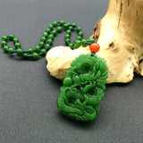 Green Hetian Nephrite Pendant Carved Chinese Dragon