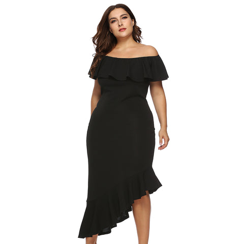Plus Size Off The Shoulder Flounce Ruffle Asymmetric Bodycon Dress