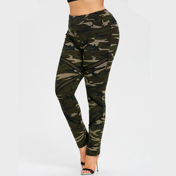 Plus Size Mesh Panel Camo Leggings-Sunshine's Boutique & Gifts