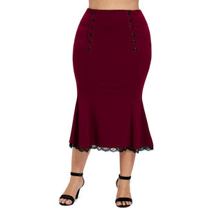 Plus Size Button Detail Fishtail Skirt-Sunshine's Boutique & Gifts