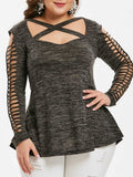 Plus Size Criss Cross Space Dye Cut Out Long Sleeves Top